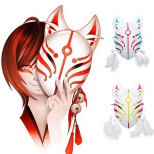 Style Japanese Pvc Vos Masker's Hand Painted Cat Face Rave Masked Cosplay Mask Veer Kwasten Party Show Bal Costume