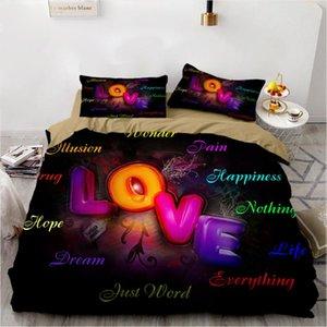 Bedding Sets 3D Romantic Love 3pcs Duvet Cover Fantasy Pure Quilt Home Textile Comforter Set Single Double Queen King Size