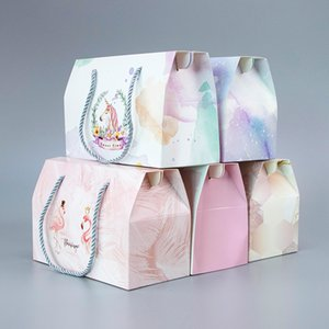 10pcs   color portable card box holiday gift candy food pastry paper bag boutique packaging