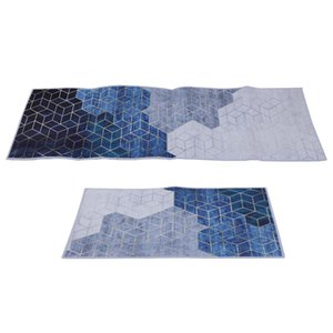 Carpets 2pcs Creative Water Absorption Non-Skid Bathroom Floor Mat For Home (Blue)