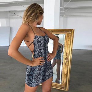 Sexy Cross Bandage Backless Bodycon Womens Dresses Moda Senza Maniche Club Snake Print Dress Dress Halter Party Mini