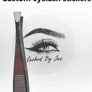 100 pcs round rectangle transparent eyelash sticker business card custom label mink eyelash paper lip gloss tube 210408