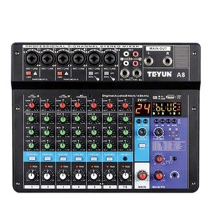 Sound Cards Card Audio Mixer Board Console Desk System Interface 8 Channel USB Bluetooth 48V Power Stereo (EU Plug)