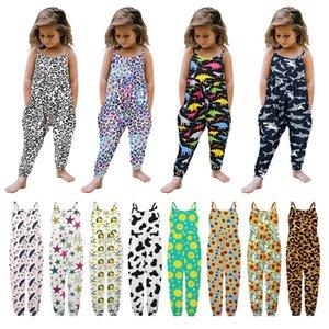 Baby Girl Jumpsuit Blue Allover Lemon print Born Onesie Romper Leopard Spaghetti Summer Princess Animal Bodysuit