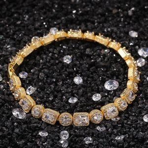 Hip Hop Bracelet Full Diamond Bracelet Micro Cubic Zirconia Copper Miami Cuban Link Chain Womens Mens Bracelets