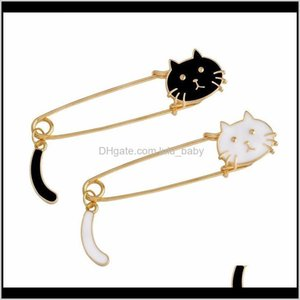 Pins, Drop Delivery 2021 White Black Cat Head Cartoon Animal Kitten Brooch Pins For Women Kids Jacket T-Shirt Bag Brooches Pin Badge Cute Jew