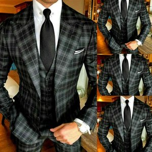 2021 Black Slim Fit 3 Stuks Plate Men Packages for Wedding Grid Prom Party Pieced Revers Smoking Tweed Wool Blind Jacket Vest + Broek