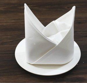 50cm * 50cm de serviette blanche en coton de la serviette de la serviette de la serviette à domicile de table de table pour serviettes de cuisine de mariage ewb6779