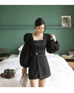 2021 블랙 새로운 패션 여름 여성 프린트 두 조각 세트 우아한 세련된 광장 칼라 랜턴 슬리브 블라우스와 높은 허리 치마 여성 양복