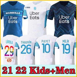 21 22 مارسيليا Soccer Jersey Olympique DE 2021 2022 OM Milik Maillot القدم المأكولات Thauvin Benedetto Kamara Payet Shirts Men + Kids Kit Luis Henrique Alvaro