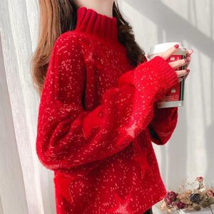 Autumn Winter Women Knitted Half Turtleneck Sweaters Pullovers Casual Long Sleeve Loose Sweater Pull Femme Women's