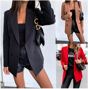 Spot direct selling women's coat autumn and winter casual solid color long sleeve double row button Blazer top