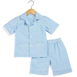 Cotton Stripe seersucker Summer Pajamas sets stripe boutique home sleepwear for kids 12m-12years button up pjs 210915