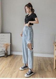 Women's Jeans High Waist Blue Casual Denim Pants Women Spring Summer 2021 Pockets Hole Boyfriends Long Female Loose Mujer 5XL