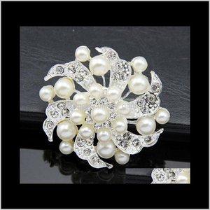 Épingles, broches goutte livraison 2021 bijoux de mariée élégante perle de fleur de teier broche broche broches strass cristal femme fête décor costume cor