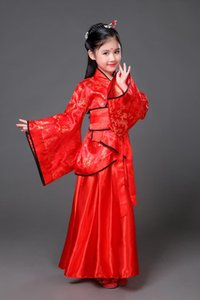 Vêtements traditionnels Anciens Vêtements Fée Chinese Chinese Dance Costumes Costumes Hanfu Robe Enfants Enfants Enfant Enfant Costume de dynastie Tang WJL0793