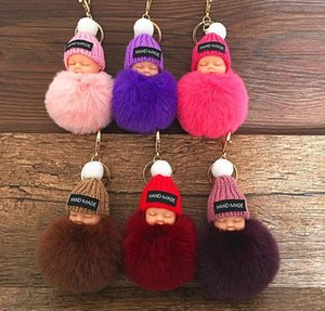 Keychains Fashion Accessories Drop Delivery 2021 Cute Sleeping Baby Doll Keychain Pompom Rabbit Fur Ball Carabiner Chain Keyring Women Kids H