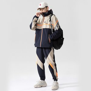 Городской  . Sportswear Весна и отдых Осень Новая Иншао Цвет Соответствующий Костюм Мужской Износ