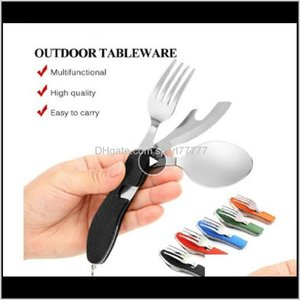 Hunting Knives And Sports & Outdoors Drop Delivery 2021 Camping Tableware Outdoor Cooking Supplies 4 In 1 Spoon Folding Pocket For Picnics Hi