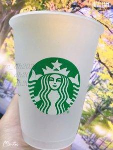 10 أجزاء Starbucks 473ML أكواب بلاستيكية، قابلة لإعادة الاستخدام، أكواب شذيفة شفاف شفاف، الأعمدة مغطاة كوب سيبي، التوصيل المجاني بواسطة bardian
