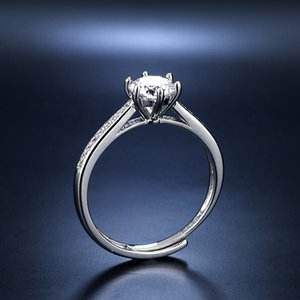 Snowflake 1 imitation diamond 925 Sterling Silver classic six claw Moissanite ring