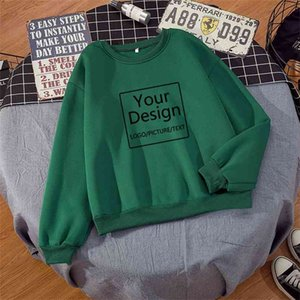 DIY Print Design Women Hoodie Custom s for Men Hip Hop Streetwear Unisex Sweatshirts Solid Color Drop 210910