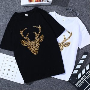 Women Womens tops summer t shirt woman shirts o neck short sleeve clothes for girl tees black white deer