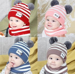 2 Pieces Baby Beanies Cap Set Kid Color Plush Ball Girls Hat And Scarf Sets Winter Warm Caps For Boys Newborn Hats DB946