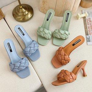 New Design Weave Women slipper Ladies Thin High Heel Sandal Open Toe Slip On Summer Outdoor Slides Flip Flop Shoe Drop Ship