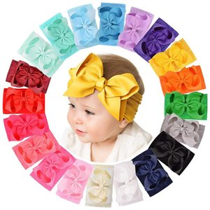 Hair Accessories 20pcs 6 Inches Baby Girls Big Bows Headbands Elastic Nylon Hairbands Turban For Borns Infants Toddlers Kids