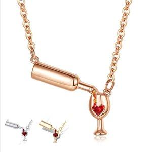 Fashion Steel Cubic Zirconia Necklace Wine Unique Design Women's Glass & Pendant Chains