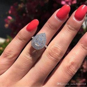 Size 6-10 Stunning Luxury Jewelry 925 Stearling Silver Drop Water White Topaz CZ Diamond Gemstones Party Women Wedding Bridal Ring Gift