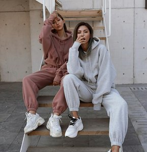 Hoody tracksuits Women sweatsuits Hoodies+Leggings Long sleeve sportswear 4 colors two piece outfits Fall winter clothing Jogging suit