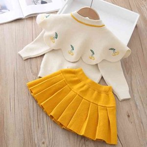 LZH infantil bebé niñas conjunto otoño invierno niños ropa cherry tejer suéter falda 2pcs traje ropa para niños 201127