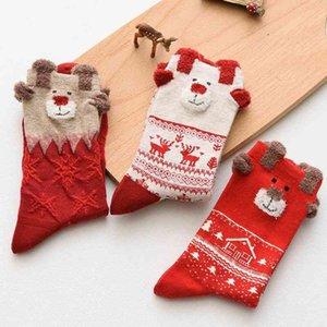 2019 autumn and winter female elk middle tube Christmas theme red benmingnian socks gift