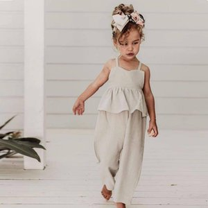 New Summer Dress Overalls Toddler Girl Jumpsuit Cotton Linen Child Girl Clothes Soft Baby Girl Dresses Jumpsuit Kids Clothes A0510