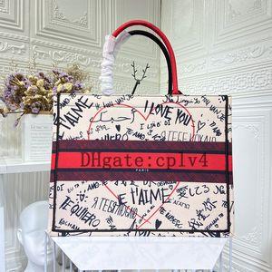 2021 Alta Qualidade Classic Livro Colorido Totes Bag Designer Bolsa Bolsa Bordada Bolsas Grandes Capacidade de Viagem Canvas Sacos de compras