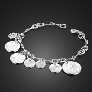 Bracelets Fashion 100% 925 Sterling Round Pendant Bracelet for Women Personality Solid Silver Flower God Hand Catenary Jewelry Gift