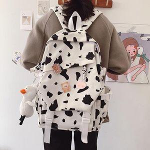 Women Backpack School Backpacks For Teenage Girls Boys Cow Canvas Travel Rucksack Female Zebra Student Book Bags Mochila Kawaii