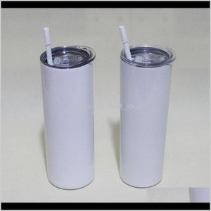 20Oz Sublimation Straight Skinny Tumblers Blanks White Stainless Steel Vacuum Insulated Tapered Slim Diy 20 Oz Cup Car Coffee Mugs 6Oa Fe5K7