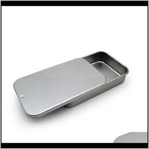 BINS DE ALMACENAMIENTO BLANCO Caja de embalaje de la menta deslizante blanca Cajas de contenedores de alimentos Pequeña caja de metal tamaño 80x50x15mm GWD3285 BT1BQ QONZC