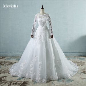 ZJ9065 2021 White Ivory Ball Gown Wedding Dresses Big Good Quality Appliqued Lace Tulle Girl Princess Size 2-26W