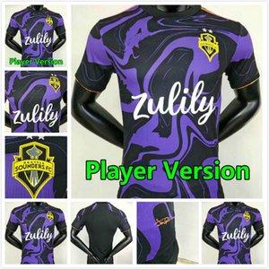 Jogador Versão MLS 2021 2022 Seattle Sounders Jerseys de futebol 21 22 Maillots Jimi Hendrix Kit Roldan Lodeiro Montero Morris Camisetas de Fúltbol Camisas de futebol roxo