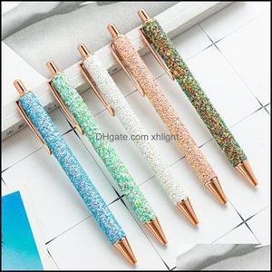 Ballpoint Parts Business Industrialballpoint Ручки Металл Роскошные Блеск Ручка 0.5 мм Черный Свин Кристалл Пресс Стиль Школьный офис