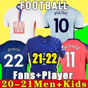 태국 100 20 21 Werner Havertz Chilwell Ziyech 축구 유니폼 2021 Pulisic Football Shirt Kante Mount 4 남자 아이들 세트 키트 탑스