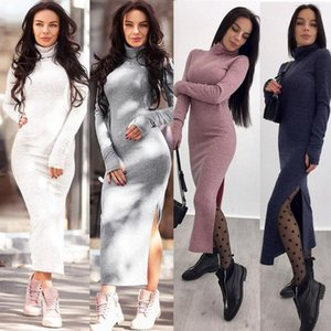 Women Knitted Maxi Dress Winter Casual Sexy Slim Elegant Long Sleeve Bodycon Female Autumn Thin Long Dresses 2021 New