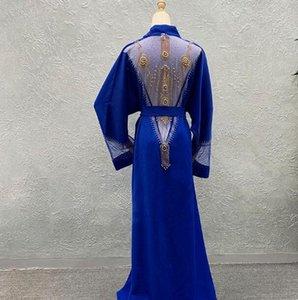 vestidos haute couture lindo strass beading manga v pescoço maxi plus size vestido sexy mulheres africanas roupas com faixas h13 di7v