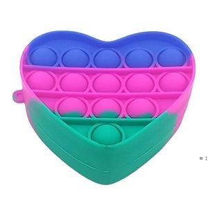 Coin Purse Push Bubble Fidget Toy Party Favor 8.2*8.2*3.5cm Creative Change Purses Bag Rainbow Silicone Stress Reliever Sensory Toys HWA7859