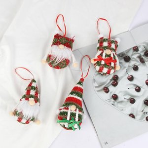 Christmas Pendant Ornaments Knit Mini Xmas Tree Forest Old Man Doll Navidad Decoration For Home DHF10675