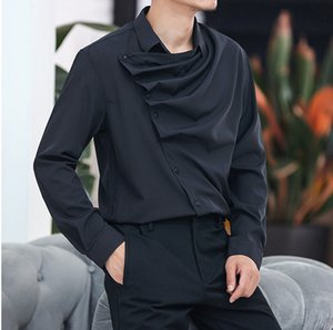 Mens Shirts Wrinkled Collar Design Silk Shirt Slim Long Sleeve Casual Chest Male Clothes